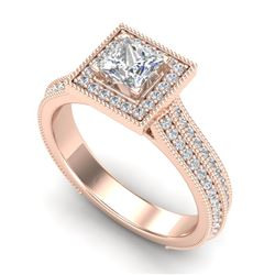 1.41 CTW Princess VS/SI Diamond Solitaire Micro Pave Ring 18K Rose Gold - REF-200K2W - 37179