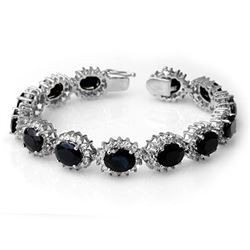 35.69 CTW Blue Sapphire & Diamond Bracelet 14K White Gold - REF-486K4W - 13137