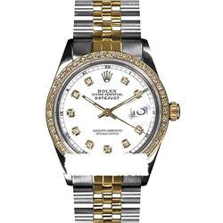 Rolex Ladies Two Tone 14K Gold/SS, Diamond Dial & Diamond Bezel, Sapphire Crystal - REF-434N7A