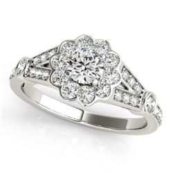 1.65 CTW Certified VS/SI Diamond Solitaire Halo Ring 18K White Gold - REF-400Y7X - 26775