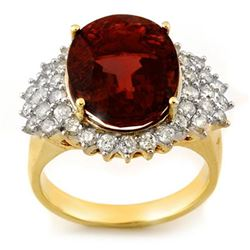 9.18 CTW Pink Tourmaline & Diamond Ring 14K Yellow Gold - REF-159A8V - 10836