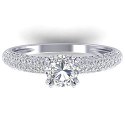 1.40 CTW Certified VS/SI Diamond Solitaire Art Deco Micro Ring 14K White Gold - REF-206X2R - 30411