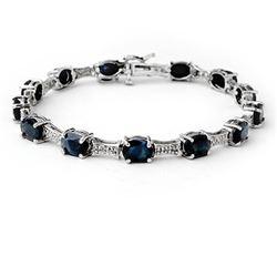 11.39 CTW Blue Sapphire & Diamond Bracelet 10K White Gold - REF-81R8K - 14165