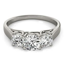 1 CTW Certified VS/SI Diamond 3 Stone Solitaire Ring 18K White Gold - REF-153X5R - 28050