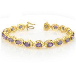 18.0 CTW Tanzanite Bracelet 10K Yellow Gold - REF-121R8K - 11329
