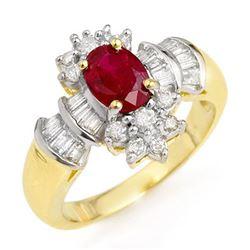 1.78 CTW Ruby & Diamond Ring 14K Yellow Gold - REF-76Y5X - 12835