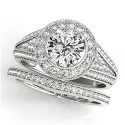 1.85 CTW Certified VS/SI Diamond 2Pc Wedding Set Solitaire Halo 14K White Gold - REF-420Y2X - 31115
