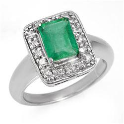2.03 CTW Emerald & Diamond Ring 18K White Gold - REF-74A2V - 13641