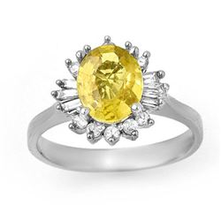 2.25 CTW Blue Sapphire & Diamond Ring 14K White Gold - REF-53V8Y - 14273