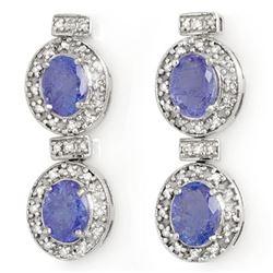 5.75 CTW Tanzanite & Diamond Earrings 14K White Gold - REF-154Y5X - 14215