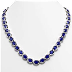52.15 CTW Sapphire & Diamond Necklace White Gold 10K White Gold - REF-655Y3X - 40559