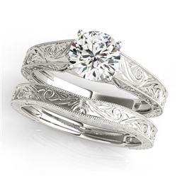 0.75 CTW Certified VS/SI Diamond Solitaire 2Pc Wedding Set 14K White Gold - REF-183W5H - 31865