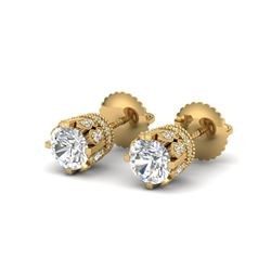 1.75 CTW VS/SI Diamond Solitaire Art Deco Stud Earrings 18K Yellow Gold - REF-249H3M - 36835