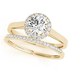 0.89 CTW Certified VS/SI Diamond 2Pc Wedding Set Solitaire Halo 14K Yellow Gold - REF-135W6H - 30986
