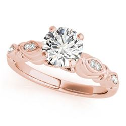 0.82 CTW Certified VS/SI Diamond Solitaire Antique Ring 18K Rose Gold - REF-184Y9X - 27349