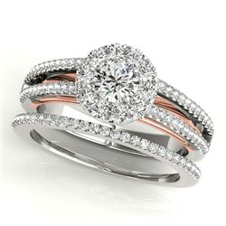 0.92 CTW Certified VS/SI Diamond 2Pc Set Solitaire Halo 14K White & Rose Gold - REF-121M8F - 31029