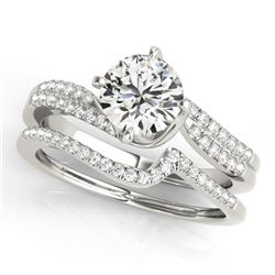 1.37 CTW Certified VS/SI Diamond Bypass Solitaire 2Pc Wedding Set 14K White Gold - REF-384M9F - 3182