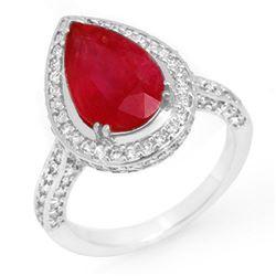 6.25 CTW Ruby & Diamond Ring 18K White Gold - REF-163Y6X - 10693