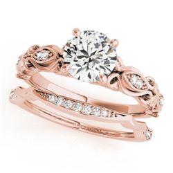 0.71 CTW Certified VS/SI Diamond Solitaire 2Pc Wedding Set Antique 14K Rose Gold - REF-133M5F - 3145