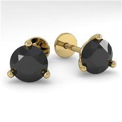 2.0 CTW Black Certified Diamond Stud Earrings 14K Yellow Gold - REF-45K7W - 38321