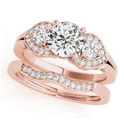 1.80 CTW Certified VS/SI Diamond 3 Stone 2Pc Set Solitaire Wedding 14K Rose Gold - REF-521F3N - 3201