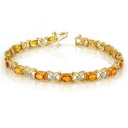 10.15 CTW Yellow Sapphire & Diamond Bracelet 14K Yellow Gold - REF-92R7K - 10917