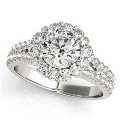 2.51 CTW Certified VS/SI Diamond Solitaire Halo Ring 18K White Gold - REF-623R5K - 26703
