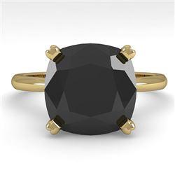6.0 CTW Cushion Black Diamond Engagement Designer Ring Size 7 18K Yellow Gold - REF-162V2Y - 32461