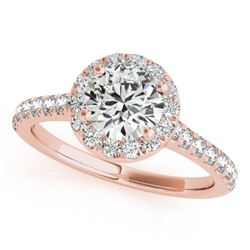 1.40 CTW Certified VS/SI Diamond Solitaire Halo Ring 18K Rose Gold - REF-377N6A - 26393