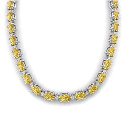 46.5 CTW Citrine & VS/SI Certified Diamond Eternity Necklace 10K White Gold - REF-226K2W - 29419