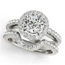 1.21 CTW Certified VS/SI Diamond 2Pc Wedding Set Solitaire Halo 14K White Gold - REF-216R9K - 30777