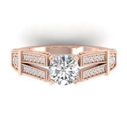 1.50 CTW Certified VS/SI Diamond Solitaire Art Deco Ring 14K Rose Gold - REF-373X3R - 30475