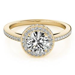 1.25 CTW Certified VS/SI Diamond Solitaire Halo Ring 18K Yellow Gold - REF-226M7F - 26921