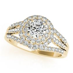 1.25 CTW Certified VS/SI Diamond Solitaire Halo Ring 18K Yellow Gold - REF-174W5H - 26577