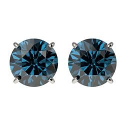 2.05 CTW Certified Intense Blue SI Diamond Solitaire Stud Earrings 10K White Gold - REF-205N9A - 366
