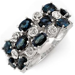 4.20 CTW Blue Sapphire & Diamond Ring 10K White Gold - REF-48V4Y - 11313