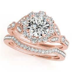 1.44 CTW Certified VS/SI Diamond 2Pc Wedding Set Solitaire Halo 14K Rose Gold - REF-225F5N - 30964