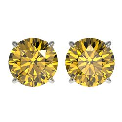 2.57 CTW Certified Intense Yellow SI Diamond Solitaire Stud Earrings 10K White Gold - REF-427N5A - 3