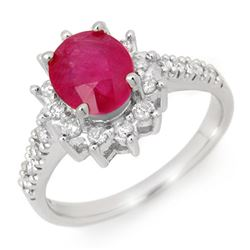 3.05 CTW Ruby & Diamond Ring 18K White Gold - REF-84H4M - 13938