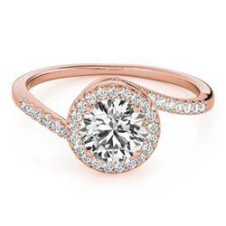 0.75 CTW Certified VS/SI Diamond Bypass Solitaire Ring 18K Rose Gold - REF-114W5H - 27655