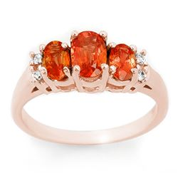 1.14 CTW Orange Sapphire & Diamond Ring 14K Rose Gold - REF-37Y8X - 10635