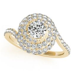 1.54 CTW Certified VS/SI Diamond Solitaire Halo Ring 18K Yellow Gold - REF-228N5A - 27050