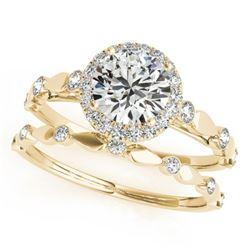 0.86 CTW Certified VS/SI Diamond 2Pc Wedding Set Solitaire Halo 14K Yellow Gold - REF-123R6K - 30857