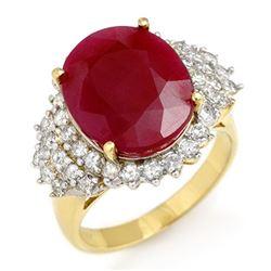 8.32 CTW Ruby & Diamond Ring 14K Yellow Gold - REF-170K2W - 12851