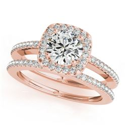 0.92 CTW Certified VS/SI Diamond 2Pc Wedding Set Solitaire Halo 14K Rose Gold - REF-134R9K - 30994