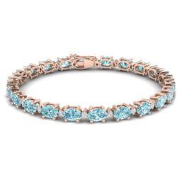 25.8 CTW Sky Blue Topaz & VS/SI Certified Diamond Eternity Bracelet 10K Rose Gold - REF-118X4R - 294