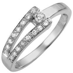 0.30 CTW Certified VS/SI Diamond Ring 18K White Gold - REF-44H2M - 10285