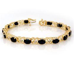 16.05 CTW Blue Sapphire & Diamond Bracelet 10K Yellow Gold - REF-55X6R - 10743