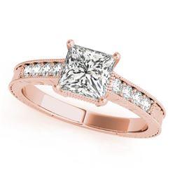 0.95 CTW Certified VS/SI Princess Diamond Solitaire Antique Ring 18K Rose Gold - REF-222H7M - 27229