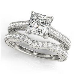 1.65 CTW Certified VS/SI Princess Diamond Solitaire 2Pc Set 14K White Gold - REF-443R3K - 31754